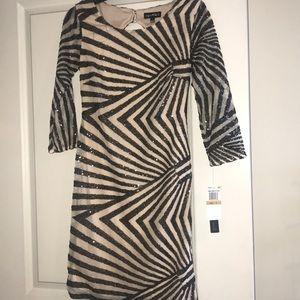 Black nude sequins dress